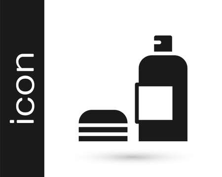 Black Bottle of shampoo icon isolated on white background. Vector