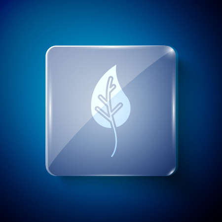 White Leaf icon isolated on blue background. Leaves sign. Fresh natural product symbol. Square glass panels. Vector