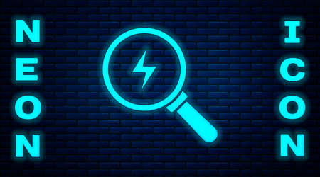Glowing neon Magnifying glass with lightning bolt icon isolated on brick wall background. Flash sign. Charge flash. Thunder bolt. Lighting strike. Vector 矢量图像