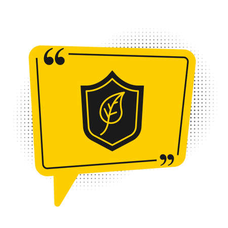 Black Shield with leaf icon isolated on white background. Eco-friendly security shield with leaf. Yellow speech bubble symbol. Vector