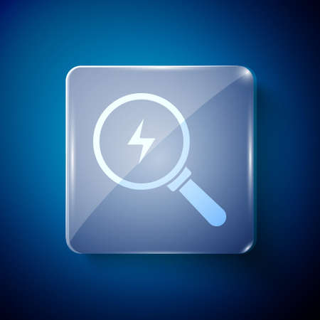 White Magnifying glass with lightning bolt icon isolated on blue background. Flash sign. Charge flash. Thunder bolt. Lighting strike. Square glass panels. Vector 矢量图像