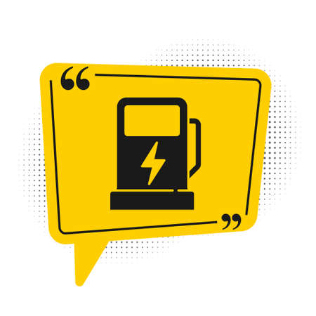 Black Electric car charging station icon isolated on white background. Eco electric fuel pump sign. Yellow speech bubble symbol. Vector