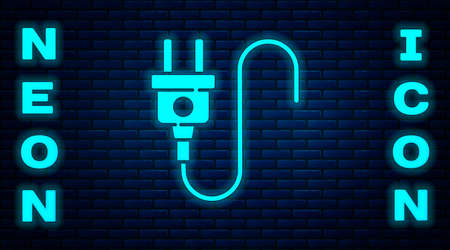 Glowing neon Electric plug icon isolated on brick wall background. Concept of connection and disconnection of the electricity. Vector Vettoriali