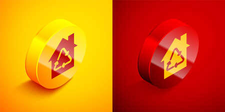 Isometric Eco House with recycling symbol icon isolated on orange and red background. Ecology home with recycle arrows. Circle button. Vector