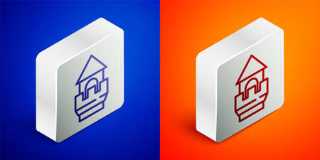 Isometric line Castle tower icon isolated on blue and orange background. Fortress sign. Silver square button. Vector 矢量图像
