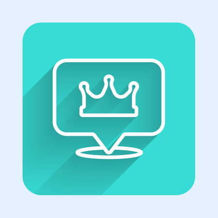 White line Location king crown icon isolated with long shadow. Green square button. Vector