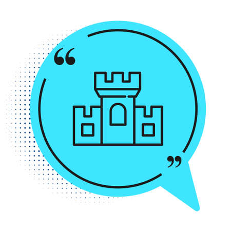 Black line Castle icon isolated on white background. Medieval fortress with a tower. Protection from enemies. Reliability and defense of the city. Blue speech bubble symbol. Vector