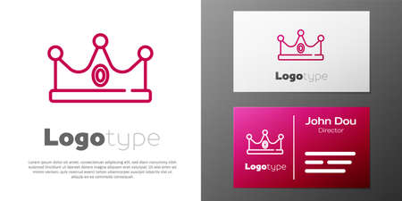 Logotype line King crown icon isolated on white background. Logo design template element. Vector