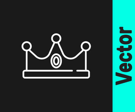 White line King crown icon isolated on black background. Vector