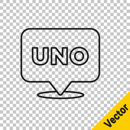 Black line Uno card game icon isolated on transparent background. Vector