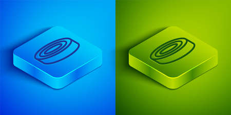 Isometric line Checker game chips icon isolated on blue and green background. Square button. Vector