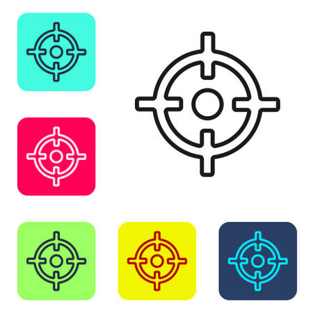 Black line Target sport icon isolated on white background. Clean target with numbers for shooting range or shooting. Set icons in color square buttons. Vector