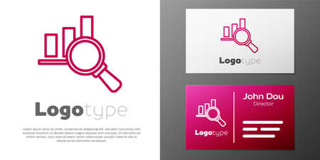 Logotype line Magnifying glass and data analysis icon isolated on white background. Logo design template element. Vector Vectores