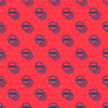 Blue line SMM icon isolated seamless pattern on red background. Social media marketing, analysis, advertising strategy development. Vector
