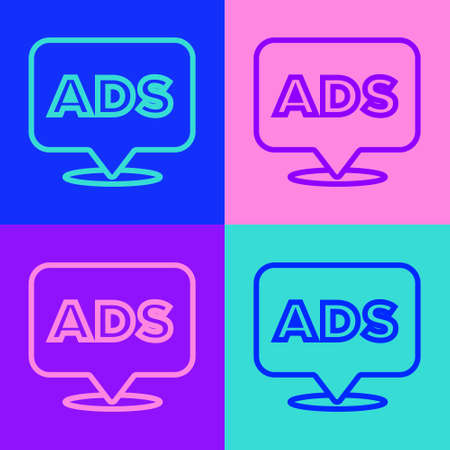 Pop art line Advertising icon isolated on color background. Concept of marketing and promotion process. Responsive ads. Social media advertising. Vector Vectores