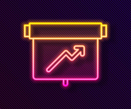 Glowing neon line Board with graph chart icon isolated on black background. Report text file icon. Accounting sign. Audit, analysis, planning. Vector Vectores