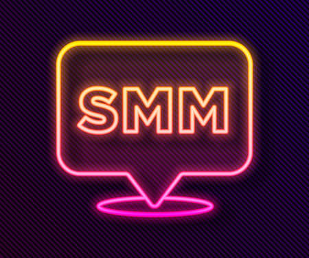 Glowing neon line SMM icon isolated on black background. Social media marketing, analysis, advertising strategy development. Vector