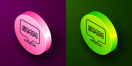 Isometric line SMM icon isolated on purple and green background. Social media marketing, analysis, advertising strategy development. Circle button. Vector Vectores
