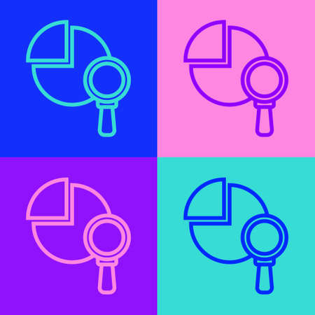 Pop art line Magnifying glass and data analysis icon isolated on color background. Vector