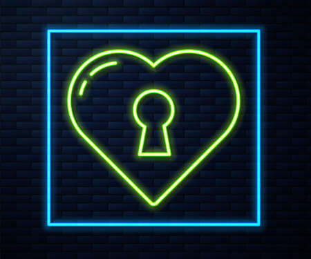 Glowing neon line Heart with keyhole icon isolated on brick wall background. Locked Heart. Love symbol and keyhole sign. Vector
