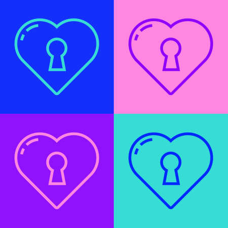 Pop art line Heart with keyhole icon isolated on color background. Locked Heart. Love symbol and keyhole sign. Vector