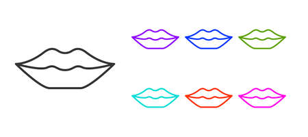 Black line Smiling lips icon isolated on white background. Smile symbol. Set icons colorful. Vector