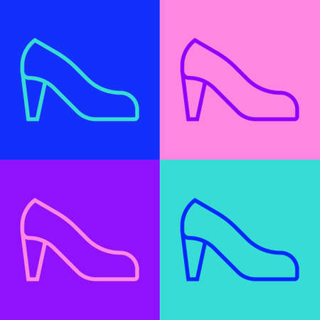 Pop art line Woman shoe with high heel icon isolated on color background. Vector