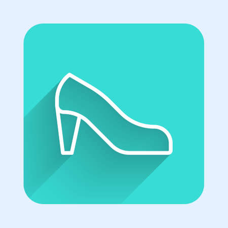 White line Woman shoe with high heel icon isolated with long shadow. Green square button. Vector