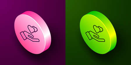 Isometric line Heart in hand icon isolated on purple and green background. Hand giving love symbol. Valentines day symbol. Circle button. Vector Vectores