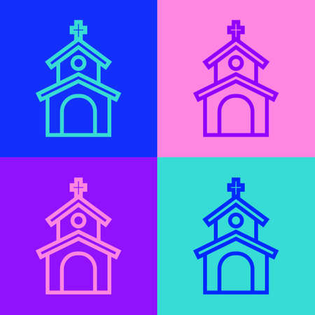 Pop art line Church building icon isolated on color background. Christian Church. Religion of church. Vector