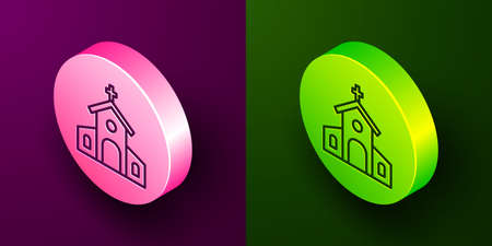 Isometric line Church building icon isolated on purple and green background. Christian Church. Religion of church. Circle button. Vector
