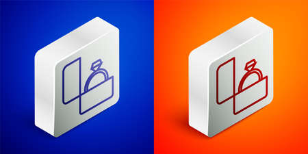 Isometric line Diamond engagement ring icon isolated on blue and orange background. Silver square button. Vector Vectores