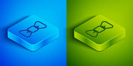 Isometric line Bow tie icon isolated on blue and green background. Square button. Vector Vectores