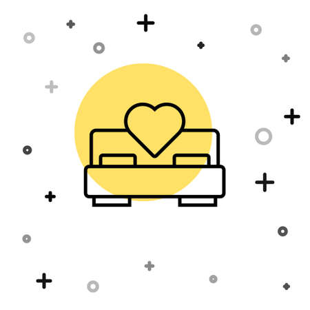 Black line Bedroom icon isolated on white background. Wedding, love, marriage symbol. Bedroom creative icon from honeymoon collection. Random dynamic shapes. Vector Vectores