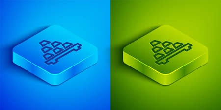 Isometric line Gold bars icon isolated on blue and green background. Banking business concept. Square button. Vector Vectores