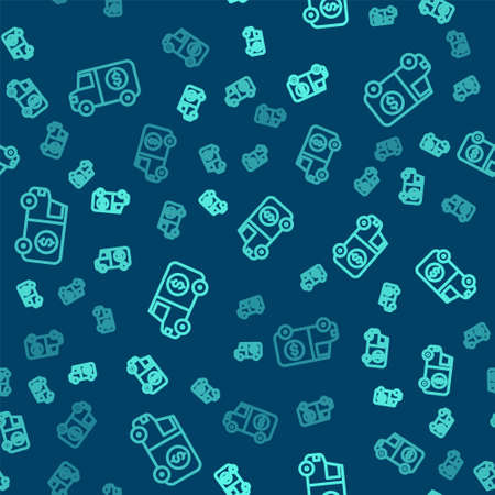 Green line Armored truck icon isolated seamless pattern on blue background. Vector