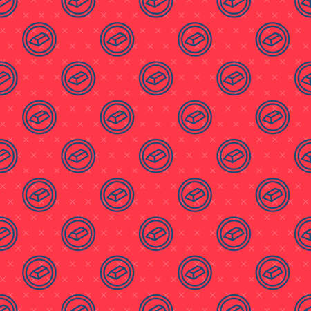 Blue line Gold bars icon isolated seamless pattern on red background. Banking business concept. Vector