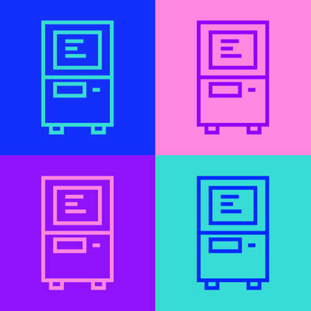 Pop art line ATM - Automated teller machine icon isolated on color background. Vector Vectores