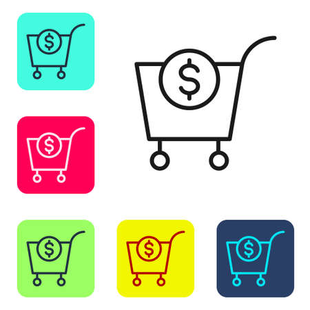 Black line Shopping cart and dollar symbol icon isolated on white background. Online buying concept. Delivery service. Supermarket basket. Set icons in color square buttons. Vector