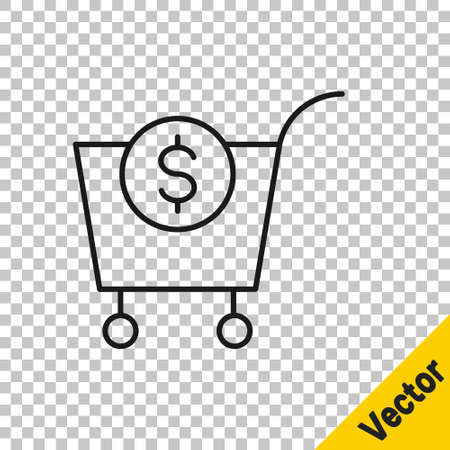 Black line Shopping cart and dollar symbol icon isolated on transparent background. Online buying concept. Delivery service. Supermarket basket. Vector