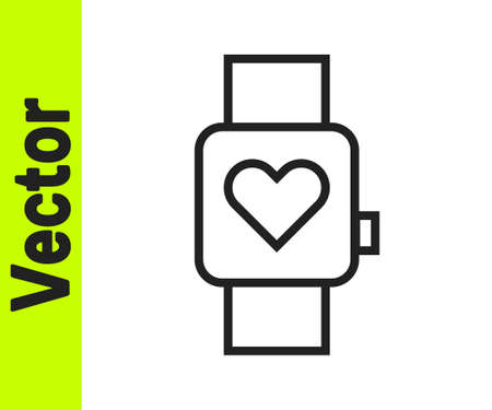 Black line Smart watch showing heart beat rate icon isolated on white background. Fitness App concept. Vector
