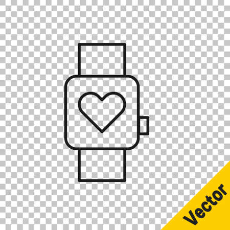 Black line Smart watch showing heart beat rate icon isolated on transparent background. Fitness App concept. Vector
