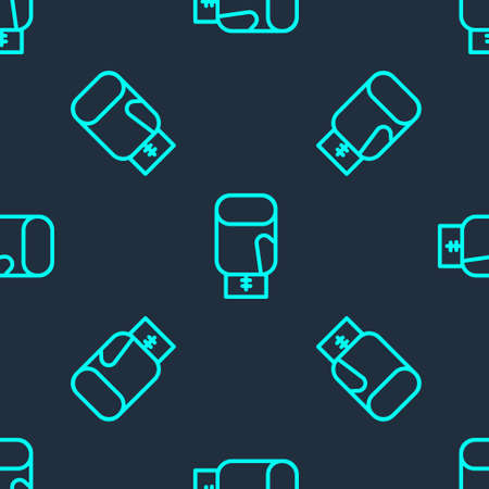 Green line Boxing glove icon isolated seamless pattern on blue background. Vector