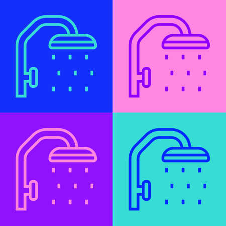 Pop art line Shower head with water drops flowing icon isolated on color background. Vector