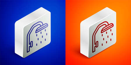 Isometric line Shower head with water drops flowing icon isolated on blue and orange background. Silver square button. Vector
