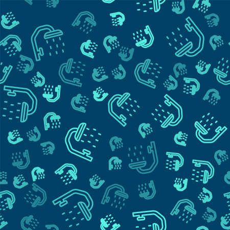 Green line Shower head with water drops flowing icon isolated seamless pattern on blue background. Vector Vettoriali