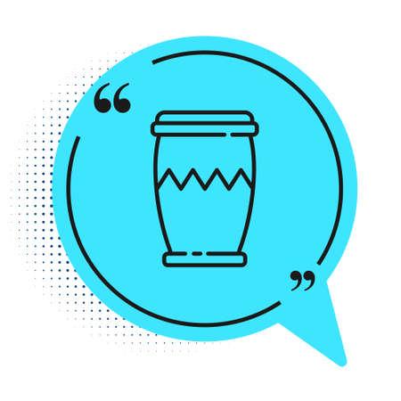 Black line Drum icon isolated on white background. Music sign. Musical instrument symbol. Blue speech bubble symbol. Vector Illusztráció