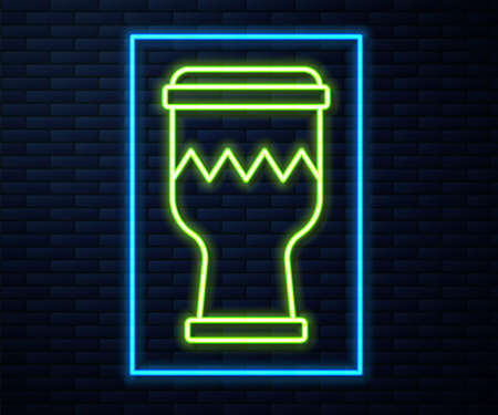 Glowing neon line Drum icon isolated on brick wall background. Music sign. Musical instrument symbol. Vector Illusztráció