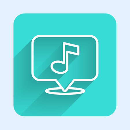 White line Musical note in speech bubble icon isolated with long shadow. Music and sound concept. Green square button. Vector 向量圖像