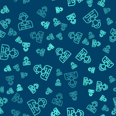 Green line Firefighter icon isolated seamless pattern on blue background. Vector 向量圖像